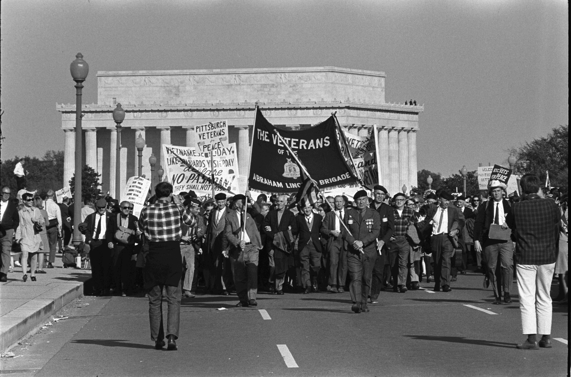 Vietnam War protestors Pittsburgh Veterans for Peace at the March on the Pentagon. October 21, 1967.
