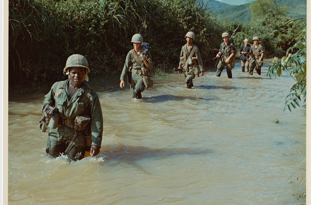 On October 10-11 1966, elements of the 1st Cavalry Division airmobile take part in Operation Irving against the Vietcong in the Phu My Province, Approx 40 kilometers northeast of An Khe. Members of A Company 1st Battalion, 8th Cavalry, 1st Brigade,advance thru rice paddies in their search for the Vietcong. October 10-11, 1966